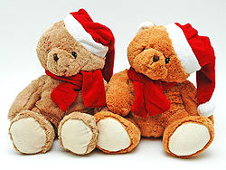 "plush teddy bear ""christmas cap & shawl 3"
