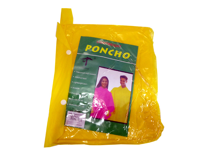 Thick poncho with hood assorted colors
