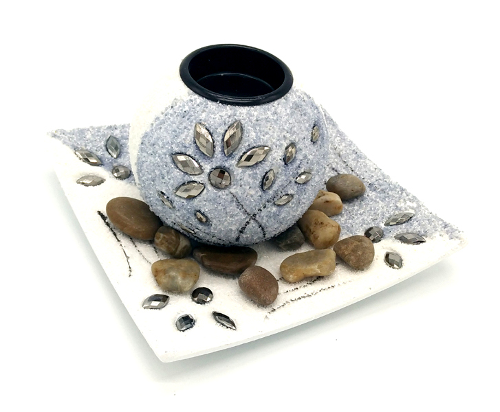Ensemble Zen avec support bougie votive 14,5cm blanc/gris