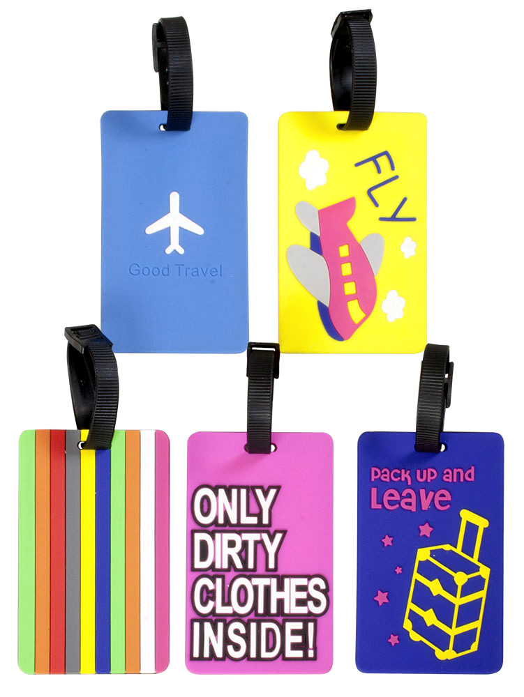 Luggage tag PVC x 2 assorted models 10,5cm