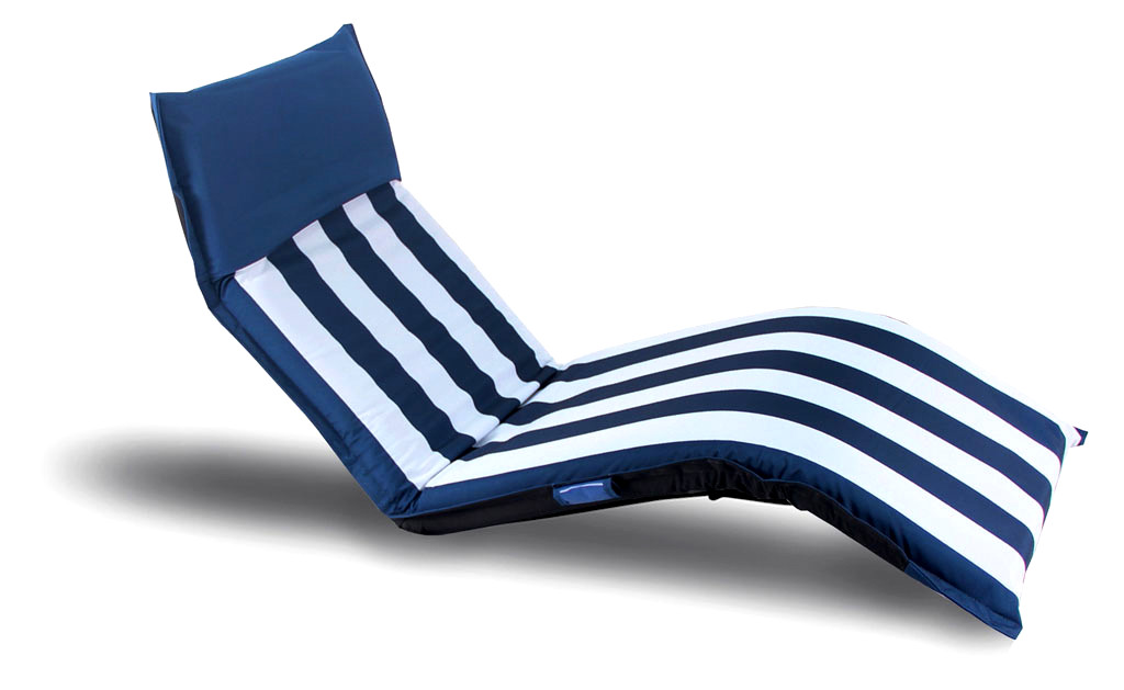 "Luxurious folding lounge chair ""Marina"" 1m90 color white/blue"