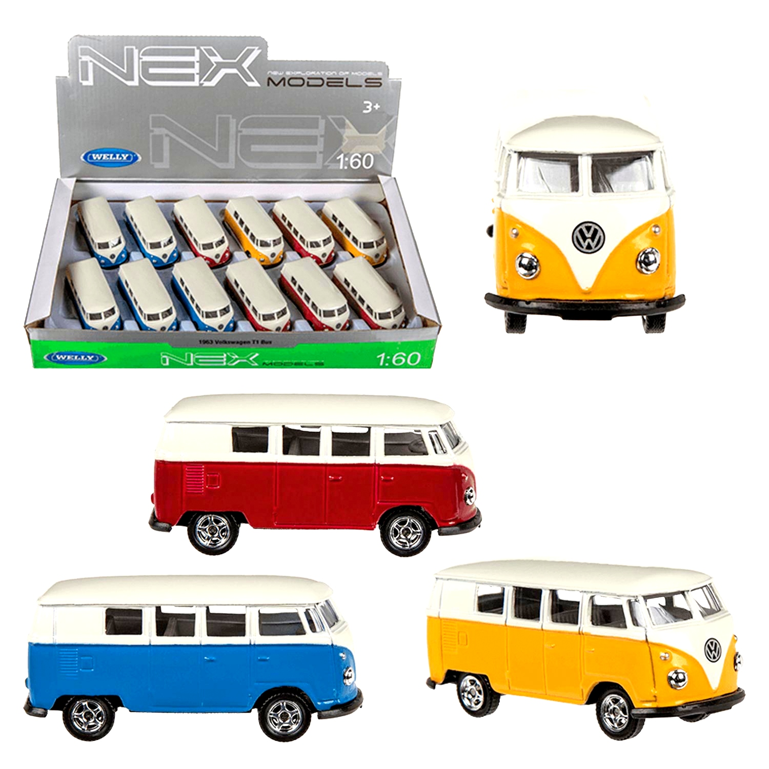 Miniature metal car Welly VW bus T1 1:60 assorted colors