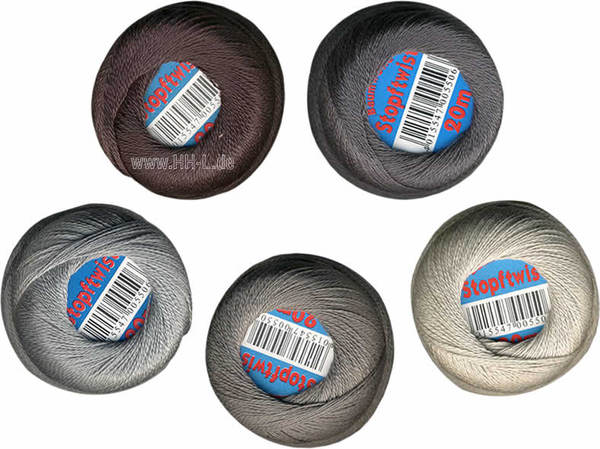 Set of 5 reels of cotton yarn darning 20m assorted grey