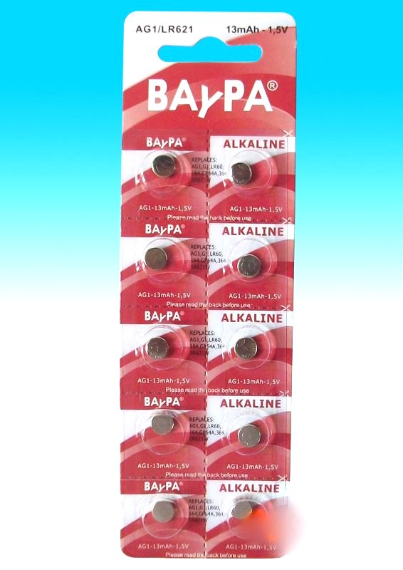 Lot of 10 AG1 alkaline batteries Baypa