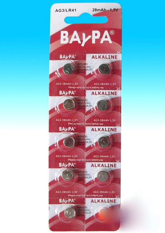 Lot of 10 AG3 alkaline batteries Baypa