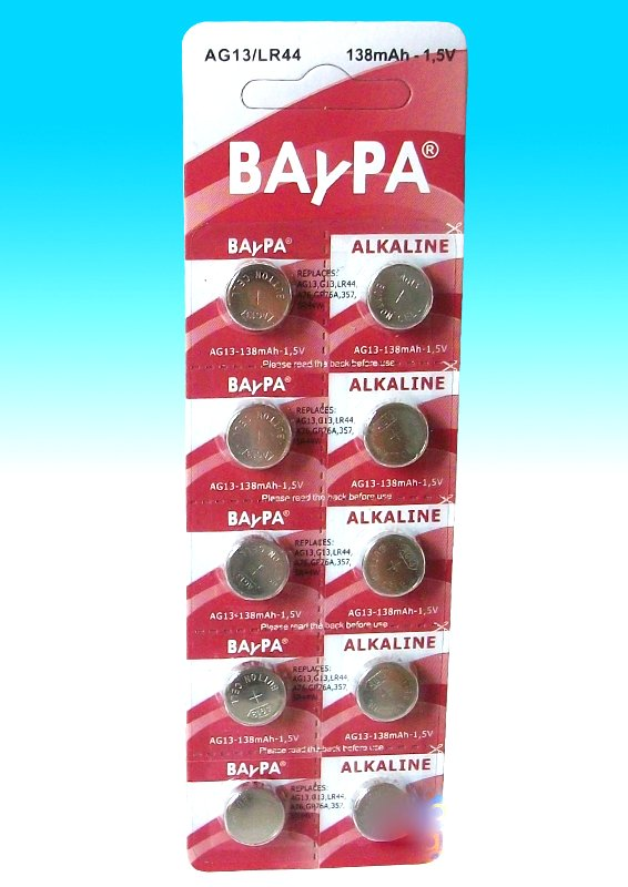 Lot of 10 AG13 alkaline batteries Baypa