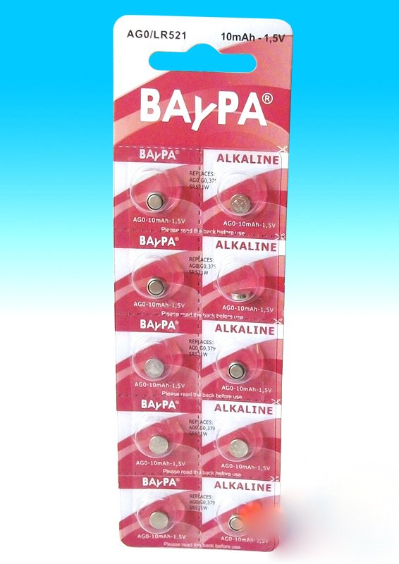 Lot of 10 AG0 alkaline batteries Baypa