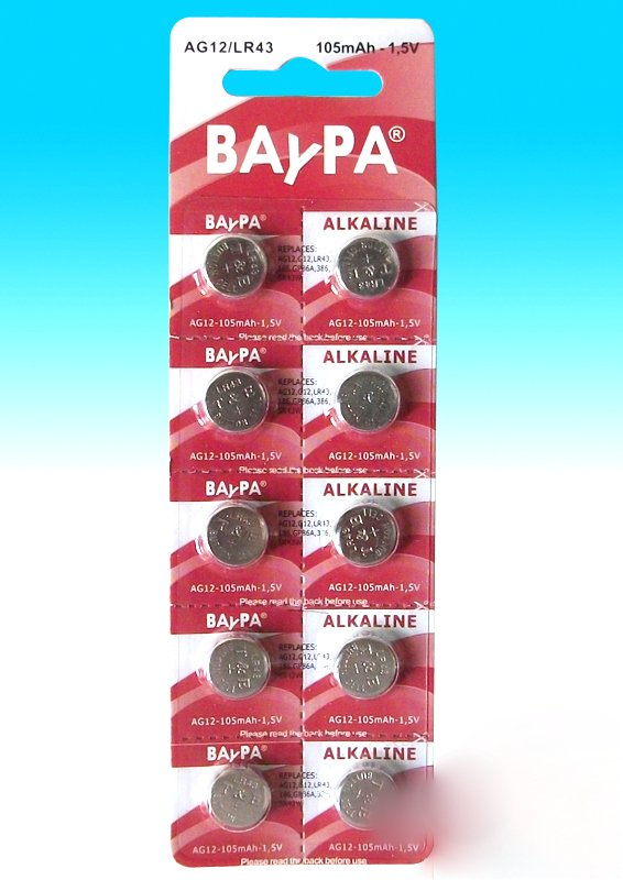 Lot of 10 AG12 alkaline batteries Baypa