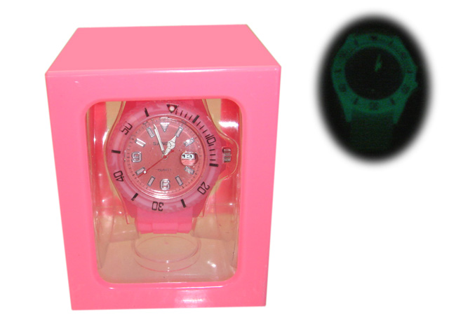 "sport watch silicone bracelet ""neon pink&quot"
