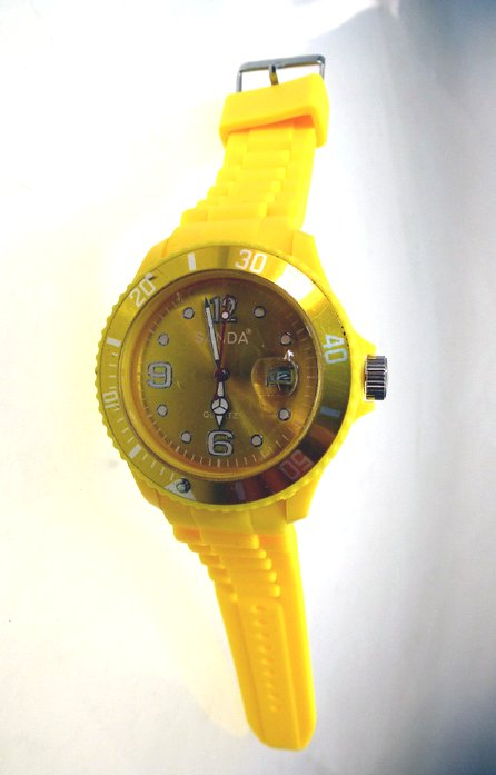 "sanda watch with date ""unisex yellow"""