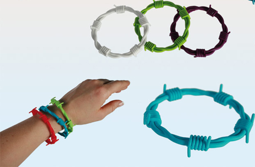 "silicone wristband barbed wire ""color matchin"